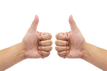 Man hand sign with thumb up
