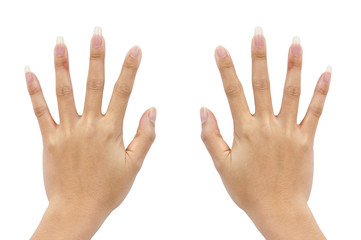 Two hand of a woman on white background