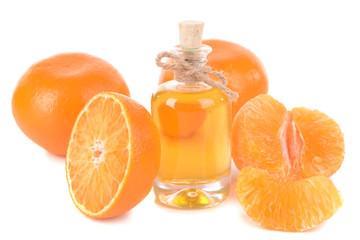 Tangerine oil isolated on white