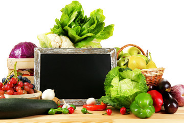 Fresh organic vegetables with chalkboard