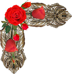 brown decorated corner with bright red roses