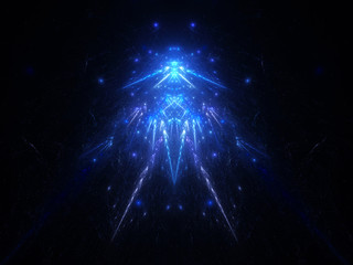 Blue glowing god in space