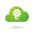 Cloud icon with a flower