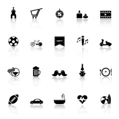 Friday and weekend icons with reflect on white background