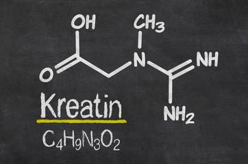 Schiefertafel mit der chemischen Formel von Kreatin