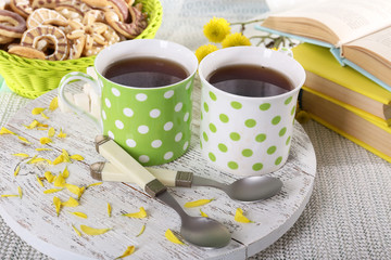 Two polka dot cups of tea