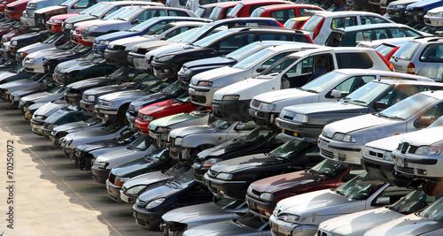 damaged cars in car demolition - 70250072