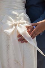 bridesmaid bow on wedding dress