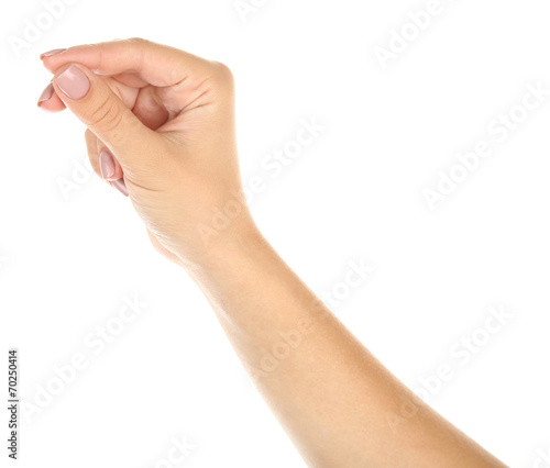 canvas print picture Female hand holding something isolated on white