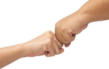 Hand with clenched a fist of two woman
