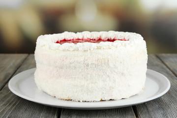 White cake on bright background