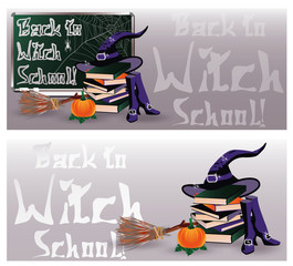 Back to Witch School. Magic invitation banners