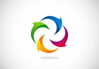circle curl 2D abstract logo