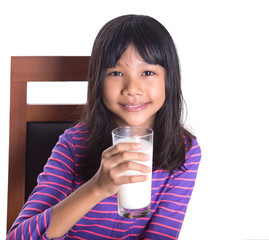 Young Asian girl with a glass of milk over white background