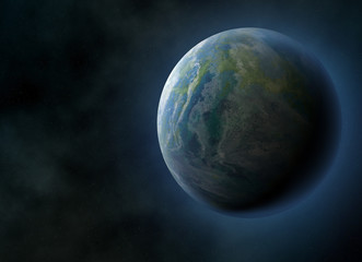 halo earth planet on cosmos sky backgrounds