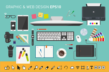 Graphic and web design desk from top view