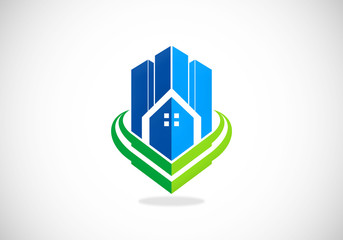 modern building city apartment logo