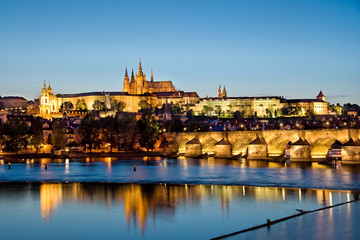 Prague castle and the Charles bridge by night
