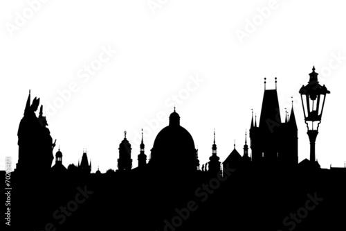 Fototapeta Charles bridge silhouette, Prague, Czech Republic