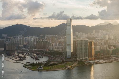 Foto op Plexiglas Hong-Kong modern tower cityscape hongkong sunrise