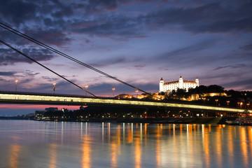 View of the Bratislava castle over the river Danube, Slovakia.