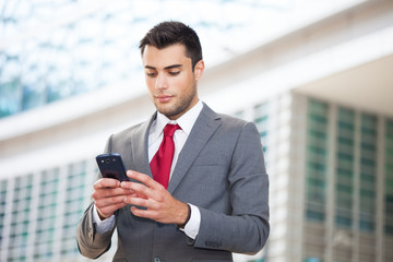 Man using his mobile phone