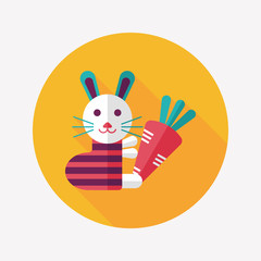 Rabbit with carrot flat icon with long shadow,eps 10