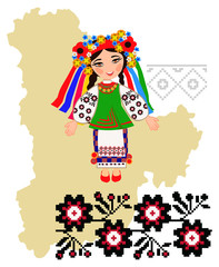 Girl in folk costume of the Kiev region in the map background re