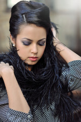 Beautiful girl with make-up with closed eyes