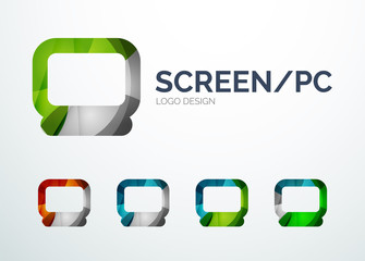 PC screen logo design made of color pieces