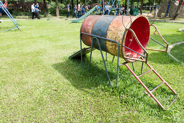 old colorful children playground in public park