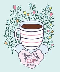 Cute hand drawn cup of tea with lettering made in vector