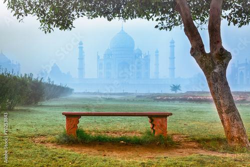 canvas print picture Taj Mahal in morning fog