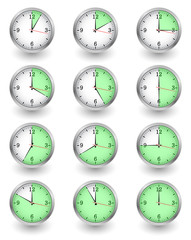 Twelve clocks showing different time on white