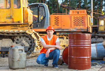 Portrait of driver  construction equipment