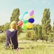 canvas print picture - Mädchen mit Ballons im Mauerpark
