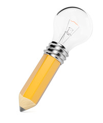 Pencil with light bulb