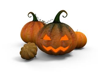 Scary Pumpkins on the plantation, Halloween.