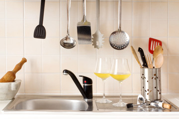 kitchen top with kitchen utensils