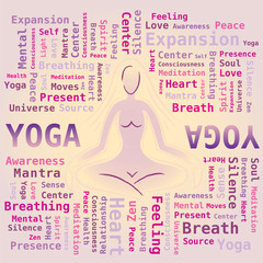 Nuage de Mots Yoga - Silhouette Posture Attitude