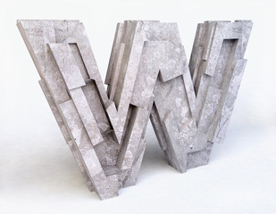 Stone Letter W in 3D