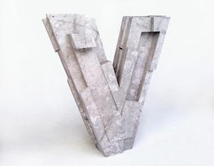 Stone Letter V in 3D