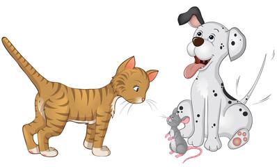 Hund Katze Maus Kollage