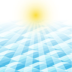 sea wave background with sunray