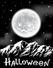 Halloween background with full Moon over mountains.