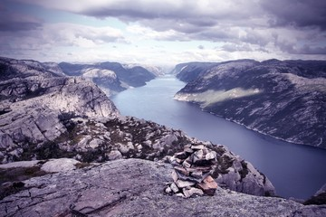 Norway - Lysefjorden. Cross processed color tone.