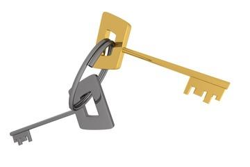 gouden en zilveren sleutel