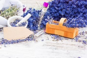 Duftpflanze Lavendel mit Etikett