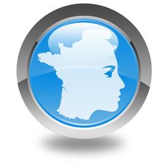 Marianne et carte de France sur bouton