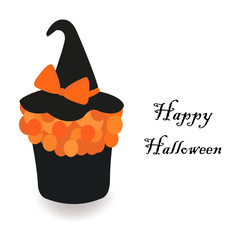 Happy Halloween greeting card with cup cake